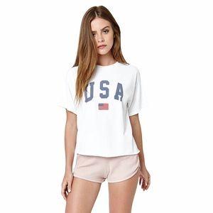 John Galt ★ USA Embroidered Flag Crop Tee Shirt ★